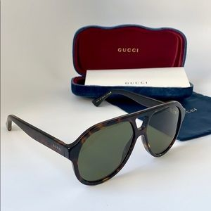 Gucci GG0159S 002 Shiny Dark Havana/ Grey